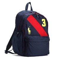 (ラルフ・ローレン) RALPH LAUREN BANNER STRIPE II BACKPACK LG バックパック #950078 NAVY/RED HIGH DENSITY POLYESTER...