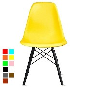 【Hilax】 Eames イームズチェア リプロダクト (イエロー/木製ダークブラウン)