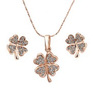 Tangda Pendant Necklace+Stud Earring Rose Gold Platedネックレスとピアス3点セット