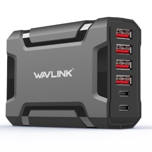 Wavlink 60W/12A Transformersデザイン 6ポートQuick Charge(2 Type C+4 Type A) USB シングルポート2.4AデスクトップUSB充電ステーショ...