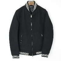 LOUNGE LIZARD ラウンジリザード 15AW W CLOTH MELTON VARSITY JACKET ブラック 3【中古】