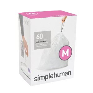 simplehuman code M custom fit liners, 3 refill packs, (60 liners), Code M - 45L / 12 Gallon, White ...