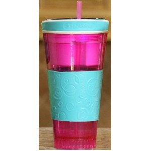 Snackeez Travel Cup Snack Drink in One Container Pink/Blue by Idea Village