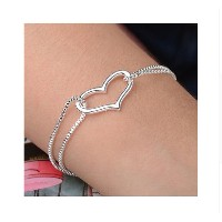 Hot Silver Heart Love charm bracelets Silver Chain bracelets for Lady Women