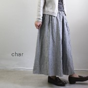 char(チャー) リネンシャンブレー ギャザーボリューム パンツmade in japanch-059p560-a