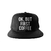 Ok, But First Coffee Cool Swag Hip Hop 印刷 スナップバック 帽子 キャップ ブラック