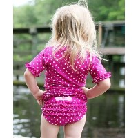 RuffleButts ラッフルバッツ水着 Berry 12-18m UPF50+ ラッシュガード Berry Polka Dot Ruffled Rash Guard Bikini (12-18m...