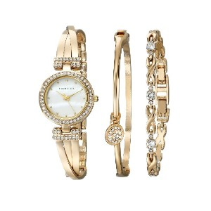 Anne Klein アン クライン女性用腕時計 Women's AK/1868GBST Swarovski Crystal-Accented Gold-Tone Bangle Watch and...