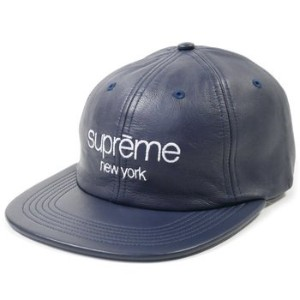SUPREME Leather Classic Logo 6-Panel Cap キャップ Navy [並行輸入品]