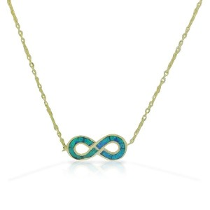 925 Sterling Silver Yellow Gold-Tone Blue Simulated Opal Infinity Pendant Necklace