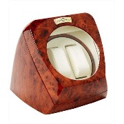 Diplomat ディプロマット ウォッチワインダー Burl Wood Double Watch Winder with Leather Interior and Multi-Setting...