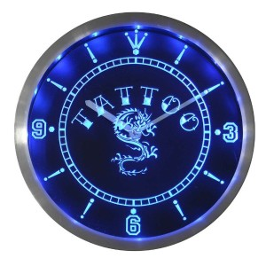 LEDネオンクロック 壁掛け時計 nc0357-b Tattoo Chinese Dragon Ink Bar Beer Neon Sign LED Wall Clock