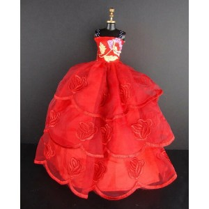 バービー 着せ替え用ドレス/服 R9 (Red Ball Gown with Flower Accent on the Botice Made to Fit the Barbie Doll)