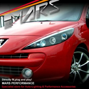 プジョー ヘッドライト Black Angel Eyes Projector Head lights for Peugeot 207 A7 Hatch Wagon プジョー207 A7ハッチワゴン用ブ...