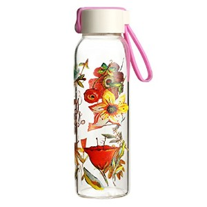 Cypress Home Glass Water Bottle 10 oz. Floral