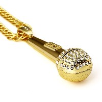 MCSAYS ヒップホップ ファッション hiphop ネックレス マイクロホン アクセサリー Mens 18 K Gold Plated Long Chain Bling Microphone...