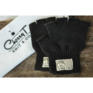 CHERRYT KNIT & CO. | KNITTED FINGERLESS GLOVES (black) | レディース手袋