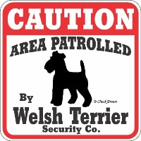 CAUTION AREA PATROLLED By Welsh Terrier Security Co. サインボード:ウェルシュテリア 注意 警戒中 セキュリティ 看板 Made in U.S.A...