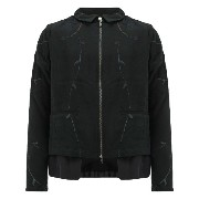 By Walid leaf embroidery zip jacket