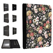 440 - Shabby Chic Floral Roses For Amazon 2015_08/kindle Fire HD 6'' 2014 レザー手帳型ケース ダイアリト スタンド 財布型
