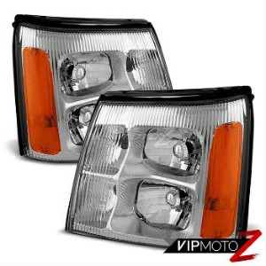 クライスラー キャデラック ヘッドライト [FACTORY STYLE] 2002 Cadillac Escalade Chrome LEFT+RIGHT Front Headlights...