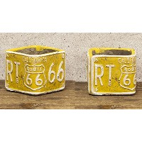 ROUTE66 Planter ルート66 プランター スクエア ミニ 2個セット Yellow