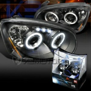 スバル インプレッサ ヘッドライト 04-05 Subaru Impreza WRX STi Black Halo LED Projector Headlights+H3 Halogen Bulb...