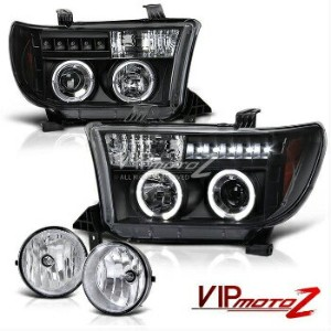 トヨタ タンドラ ヘッドライト 07-13 Tundra L+R Black Halo Projector Headlight+Front Fog Light+Wiring+Switch...