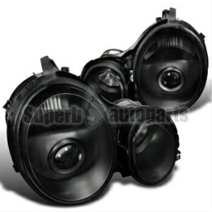 ベンツ ヘッドライト 1996-1999 Mercedes Benz W210 E-Class Projector Headlights LH+RH Black 1996-1999メルセデスベンツW2...