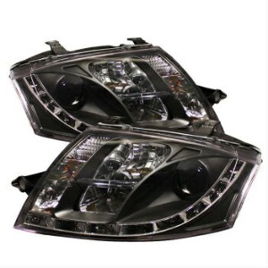 アウディ ヘッドライト Audi 00-06 TT Quattro Black DRL LED Projector Headlights Coupe Convertible アウディ00-06...