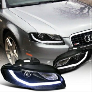 アウディ ヘッドライト 2006-2008 Audi A4 Projector Headlights W/BMW Style Led DRL Black SpecD Tuning 2006...
