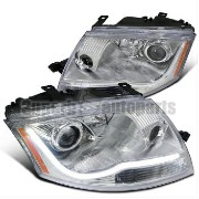 アウディ ヘッドライト 1999-2006 Audi TT LED DRL Light Bar Projector Chrome Headlights Head Lamps Clear 1999...