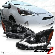 トヨタ プリウス ヘッドライト 2012 2013 2014 Toyota Prius C Black LED Projector Headlight Headlamp LEFT+RIGHT...