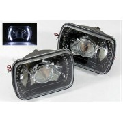 マツダ RX-7 ヘッドライト 7X6 H6014/H6052/H6054 WHITE LED RING BLACK PROJECTOR HEADLIGHTS HEADLAMPS DIY 7X6...