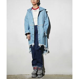 <PAMEO POSE> 2WAY DENIM FOODIE COAT(231710000101) SKY BLUE レディースウエア~~コート