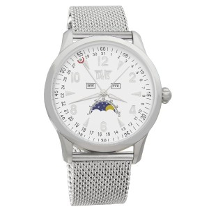 Davis-1501MB トリプル日付とムーンフェイズ腕時計メンズ Mens triple date and Moonphase watch-White dial-Mesh strap