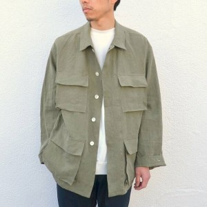 AURALEE(オーラリー)/ WASHED LINEN BIG FATIGUE JACKET -OLIVE GREEN-