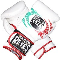 Cleto Reyes Hook and Loop Closure Training グローブ ホワイト/レッド/グリーン 14 oz. (海外取寄せ品)