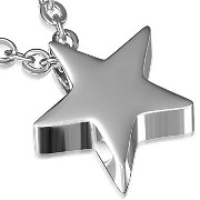 Stainless Steel Silver-Tone Star Pendant Necklace