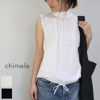chimala(チマラ)COTTON GIZASLEEVELESS HIGH NECK BLOUSE 2color made in japancs23-s01-b