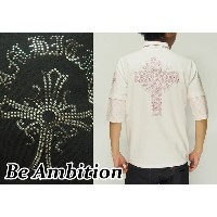 Be Ambition[ビーアンビション] ドクロクロス ラインストーン ZIPポロシャツ/5分袖/A57102/送料無料【ビーアンビションの5分袖が登場!】