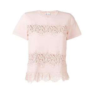 Red Valentino - lace applique knitted T-shirt - women - ポリアミド/ビスコース - M