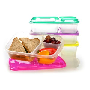 EasyLunchboxes 3-Compartment Bento Lunch Box Containers, Set of 4, Brights by EasyLunchboxes