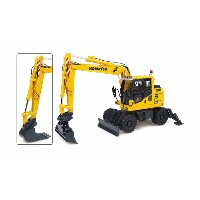 Komatsuコマツ PW148-10 Wheeled Excavator油圧ショベル with Standard and Ditching Bucket UniversalHobbiesユニバーサル...