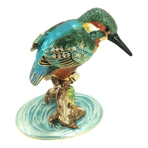 Bejeweled Kingfisher Bird Trinketボックスby Kublaクラフト、3 Tall