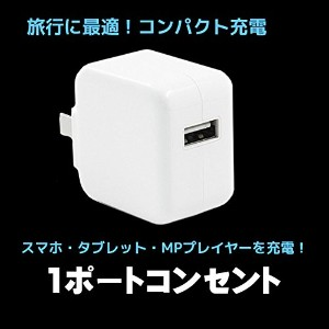 iPhone USB ACアダプタ DC5.2V 2.4A 1ポート 高速充電 急速同時充電器 海外対応 iPhone iPad スマホ タブレット 家電 その他各種対応 白 送料無料