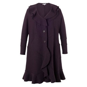 チェスカ レディース アウター コート【Chesca Wool Coat with Flounce Collar and Trim】Purple