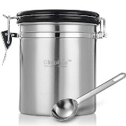 Chephon(TM) Stainless Steel Airtight Coffee Canister with Date Dial and One-way CO2 Vent Valve -...