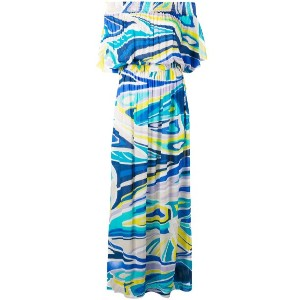 Emilio Pucci - printed bardot beach dress - women - ビスコース - 44