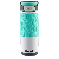 Contigo Autoseal Metra Stainless Travel Mug, 16 oz, Polar White with Grayed Jade Lid Accent by...
